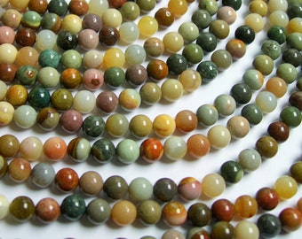 Polychrome jasper - 6 mm round beads - full strand - 65 beads - A quality - RFG434