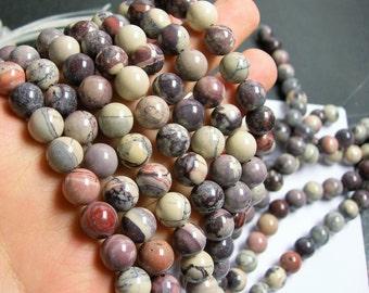 Porcelain Jasper -10 mm round beads - full strand - 40 beads - RFG435