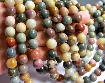 Polychrome jasper - 12 mm round beads - full strand - 50 beads - AA quality - RFG438