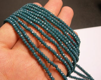 Crystal - rondelle faceted 3.5mm x 2.5mm beads - 140 beads - dark blue green emerald - full strand - MAC2
