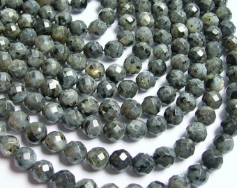 Larvikite  - 8mm faceted round beads -1 full strand - 48 beads - AA Quality - black labradorite - RFG444