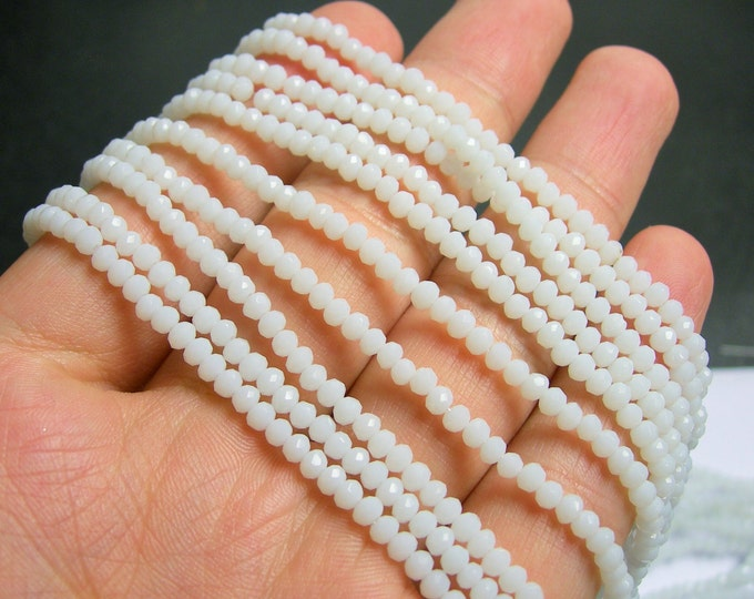 Crystal - rondelle faceted 3.5mm x 2.5mm beads - 140 beads - White - full strand - MAC10