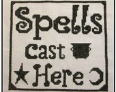 PDF E pattern emailed Spells Cast Here Wicca  Witch Cross Stitch Pattern Sampler 157