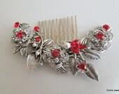 Vintage Style Flower and Leaf Rhinestone Bridal Hair Comb,Pearl Rhinestone Hair Comb,Wedding pearl Hair Comb Ivory or White Pearls,ROSELANI