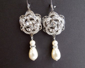 Bridal Pearl Earrings Ivory Swarovski Pearls Rose Rhinestone Earrings Bridal Rhinestone Earrings Statement Bridal Earrings ROSELANI