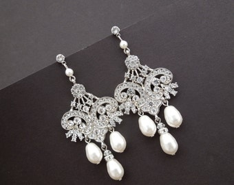 Bridal Rhinestone Earrings Bridal Chandelier Earrings Ivory Swarovski Pearls Chandelier Wedding Earrings Statement Bridal Earrings DEVON