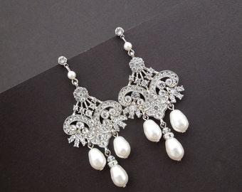 Bridal Rhinestone Earrings,Bridal Chandelier Earrings,Ivory Swarovski Pearls,Chandelier Wedding Earrings,Statement Bridal Earrings,DEVON