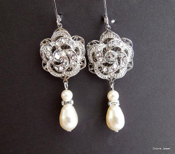 Bridal Pearl Earrings Ivory Swarovski Pearls Rose Rhinestone Earrings Bridal Rhinestone Earrings Statement Bridal Earrings ROSELANI