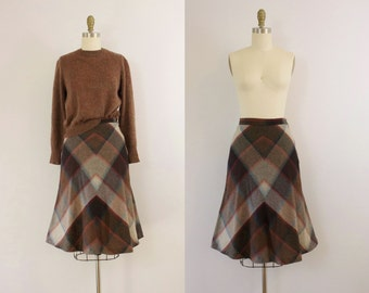1960s By The Fire forestry plaid flared skirt / 60s autumn wool