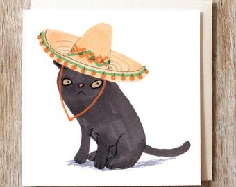Black Cat Birthday Card Blank Sombrero Hat Funny Cute