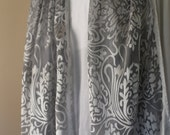 Grey and Silver White Silk Rayon Scarf with long fringe
