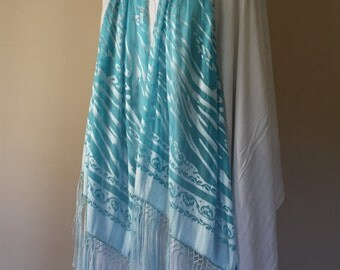 Blue Turquoise Water Silk and Rayon Burnout Shawl Scarf with long fringe