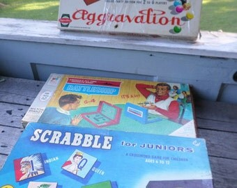 Set of 3 vintage Games Scrabble for Juniors Aggravation Deluxe Party Edition and Battleship 1958-70s