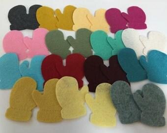 Wool Felt Winter Mitten Die Cut 30 total - Random Colored. 3083