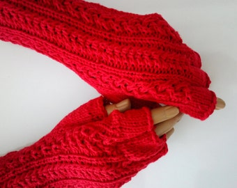 COTTON Red Half Finger Gloves-Ready to ship
