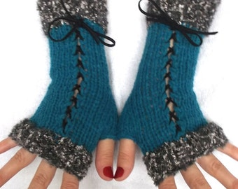 Fingerless Gloves Turquoise Blue Corset Wrist Warmers Victorian Style Women Winter Accessory