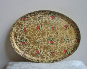 Vintage Floral Tray Oval Paper Mache Chintz by Highmount Quality Japan, Cream Gold Flowers Pink Roses Green, Shabby Cottage