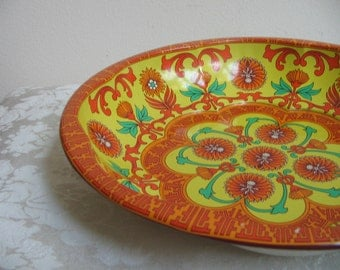 Vintage Funky Metal Bowl by Daher In Tangerine Orange Turquoise Yellow, Psychedelic Kaleidoscope Mandala, Boho Chic, England