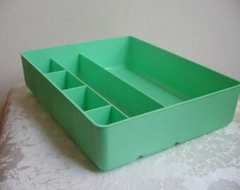 Vintage 1980's Goody Handi Tray NEW Divided Drawer Organizer Plastic Caddy in Seafoam Green, Art Supplies Storage