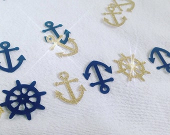 Gold glitter and blue  Nautical Anchor and Ship's Wheel Confetti - 100 pcs.