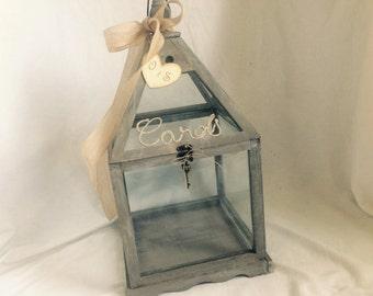 Wedding Card Holder -Shabby Chic Lantern, Rustic Card Holder. Wedding Lantern Card Holder