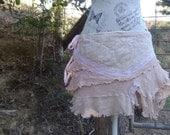 wild child skirt, hippy mini, alternative tutu, pale pink vintage lace, dance! adaptable size