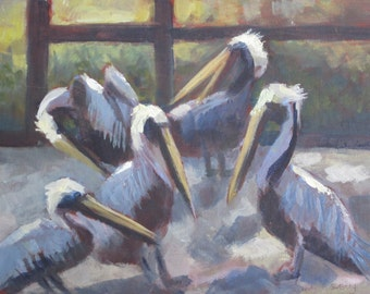 Original Plein Air Oil Painting Pelicans Save Our Seabirds