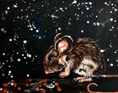 Acrylic Mouse Painting - Midnight Vole