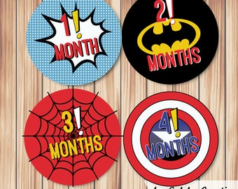 Baby Month Milestone stickers Super Hero (set of 12)