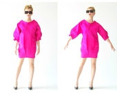 Neon Avant Garde Gianfranco FERRE Designer Dress- 90s, S, Space Age Futuristic Statement Vintage, Couture, Neon Flamingo Pink, Bubble Mini