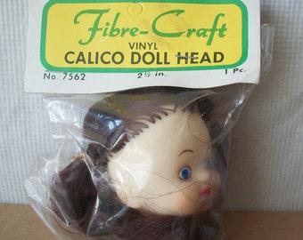Vintage FibreCraft Calico Doll Head