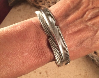 Chris Charlie Sterling Feather Cuff Bracelet