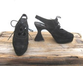 Platform Goth Heel Lace Up Sling back 1990s does 1970s by Wild Pair Ladies Size 8.5