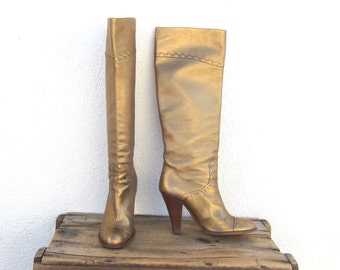 Marc Jacobs Bronze Leather Knee Length High Heel Boots Ladies Size 39 (US 8.5)