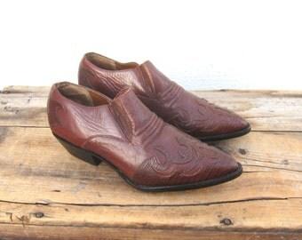 Ankle Chelsea Booties Cognac Leather  Winklepickers 1990s Ladies Size 6 Deadstock