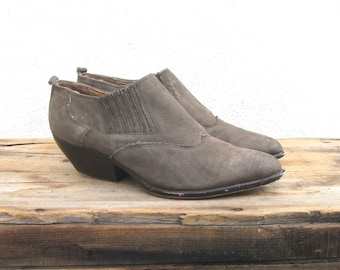 Ankle Chelsea Booties Grey Suede  Winklepickers 1990s Ladies Size 7.5