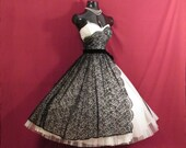 RESERVED *** Vintage 1950's 50s STRAPLESS I. Magnin Black Lace White Tulle Circle Skirt Party Prom Wedding DRESS Gown