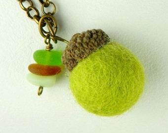 Eco Friendly GENUINE Sea Glass Jewelry Felt Acorn Necklace