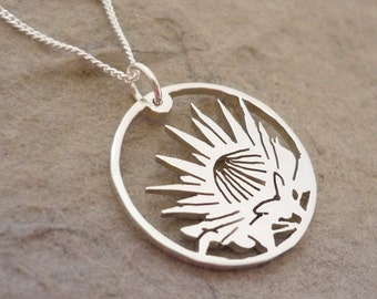 Sterling Silver Protea in Circle Handmade pendant on chain