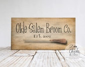 Olde Salem Broom Company Funny Sign, Halloween Sign, Wicked Witch Sign