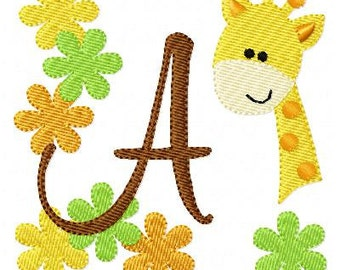 Giraffe Zoo Safari Machine Embroidery Monogram Font Set  Joyful Stitches // Joyful Stitches