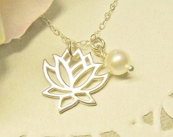 Silver Lotus Necklace and pearl, Bridesmaid Jewelry, Bridesmaid Necklace, Yoga Jewelry