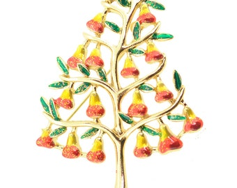 Multi-Color Pear Tree Pin Brooch 1005221