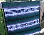 Vintage Mexican Hippie Blanket Multi Colors Blue Gray White