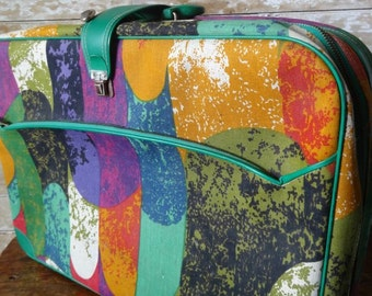 Vintage Suitcase Geometric or Patch Pattern 1970's Adorable