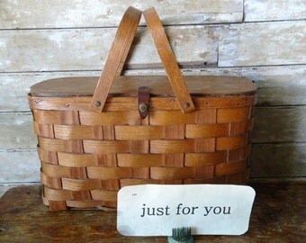 Vintage Basket Woven Wooden Cover With Leather Strap Rare Find