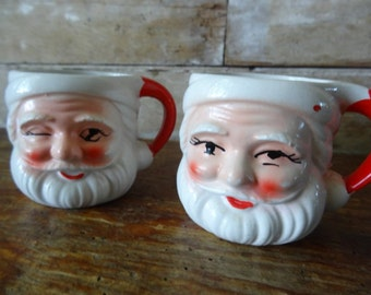 Vintage Ceramic Santa Head Mugs 1 of 2