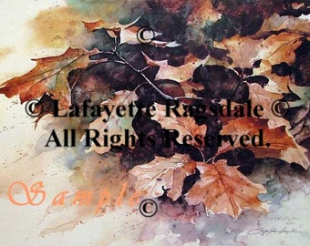 Autumn Leaves Print from Watercolor Painting Lafayette Ragsdale