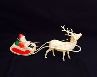 Vintage Santa Claus And Reindeer Sleigh Made In USA Molded Plastic Celluloid Christmas Decor