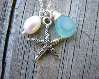 Ocean Dreaming Necklace Sterling Silver Aqua Blue Green Chalcedony Freshwater Pearl Starfish Charm Wire Wrapped Gemstone Charm Necklace